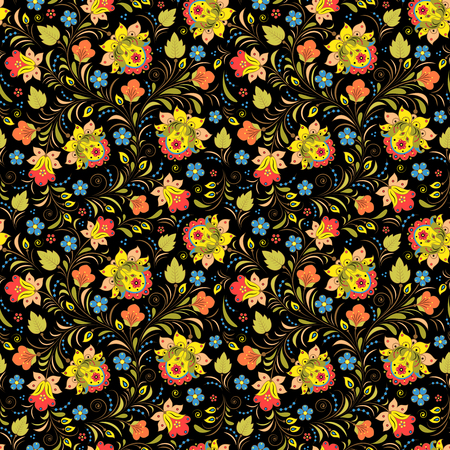 traditional illustration: Illustration of seamless pattern with traditional russian floral ornament.Khokhloma. Stock Photo