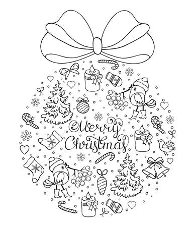 Ilustración De Vector De Patrón De Navidad. Página De Colores Para ...