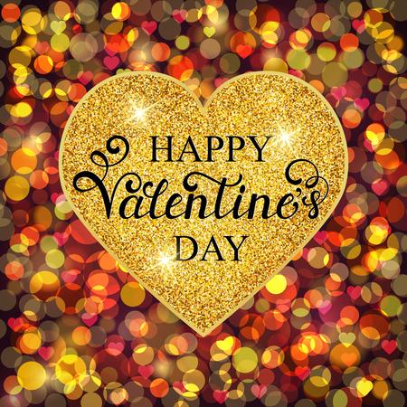 golden heart: Happy Valentines day inscription on golden heart . Vector illustration. Illustration