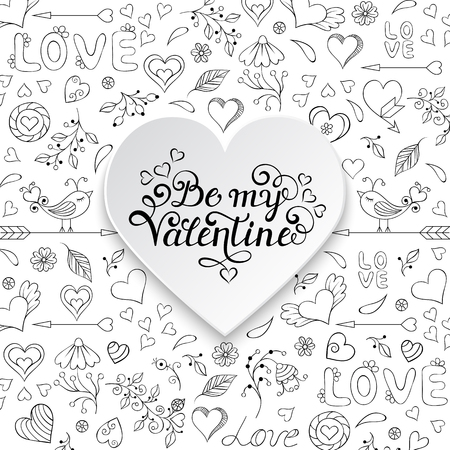 flower heart: Valentines card with hearts,birds,flowers and other elements.Handwritten card template.Vector illustration.Coloring page for children and adult. Illustration