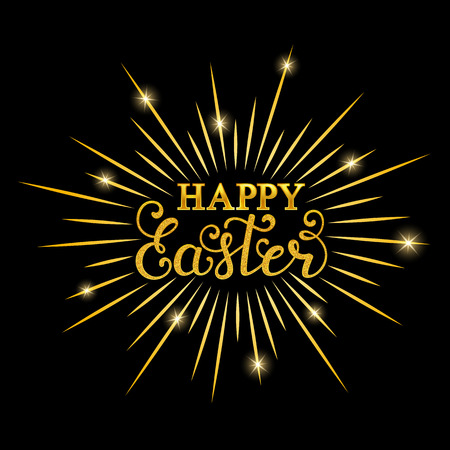 Happy Easter inscription in black background. Illustration