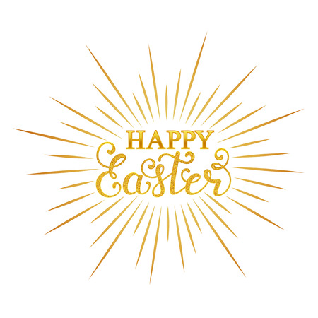 Happy Easter inscription in white background. 向量圖像