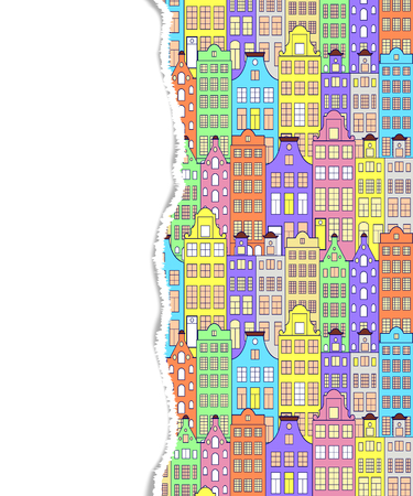 torn: Pattern with colorful building