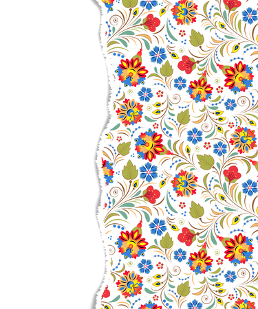 Beautiful floral pattern with torn paper
