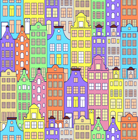 A pattern with colorful building