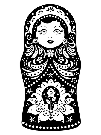 Matroschka auf weißem Hintergrund Standard-Bild - 80390279