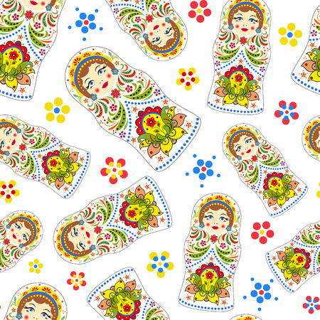 seamless pattern with russian dolls
