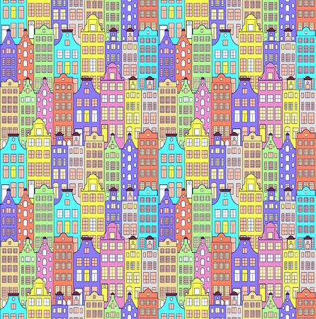 Illustration of seamless pattern with colorful building