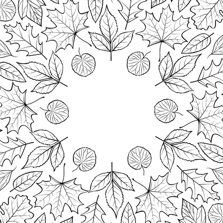 Pattern with autumn leaves.Autumn background.Coloring page for children and adult. Vector illustration.