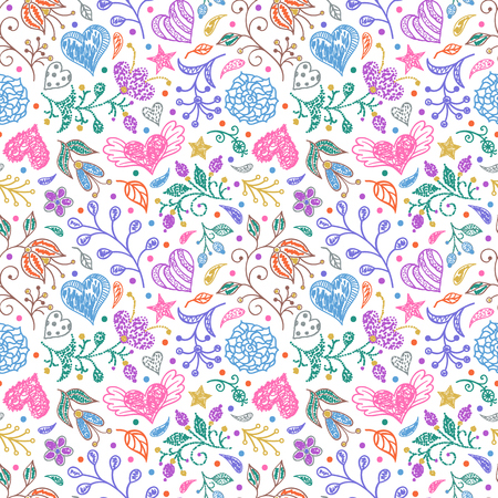 Seamless pattern with hand drawn flowers and hearts on white background.