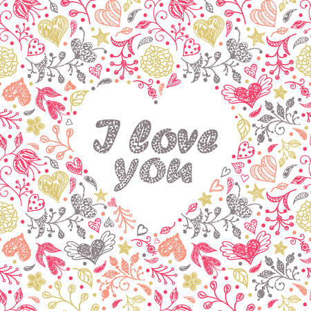 Colorful card with hand drawn flowers and hearts.Vector illustration.
