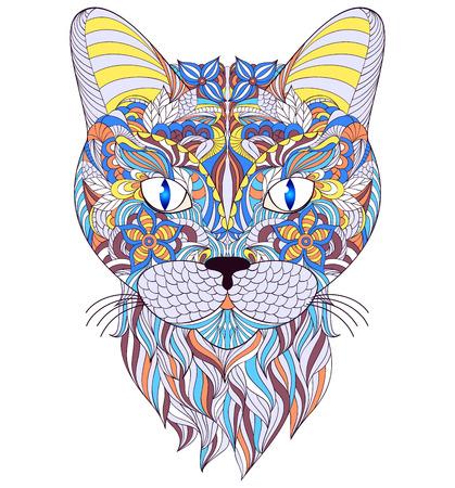 Vector illustratie van het hoofd van de kat op witte achtergrond