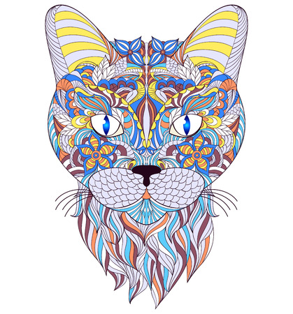 gray cat: Vector illustration of head of cat on white background