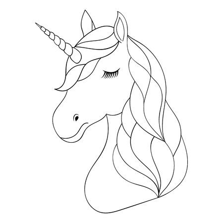 Un Lindo Unicornio Alado, En Tonos De Rosa Pastel, En Blanco Y Negro ...