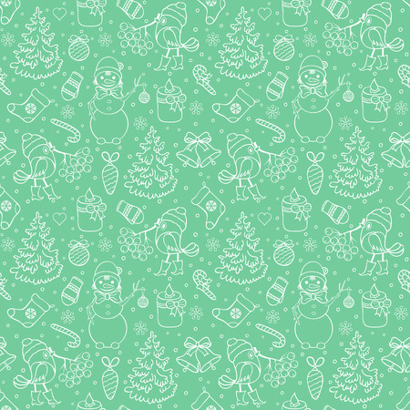 Seamless christmas pattern with trees,birds,snowmen on green background. vector illustration.