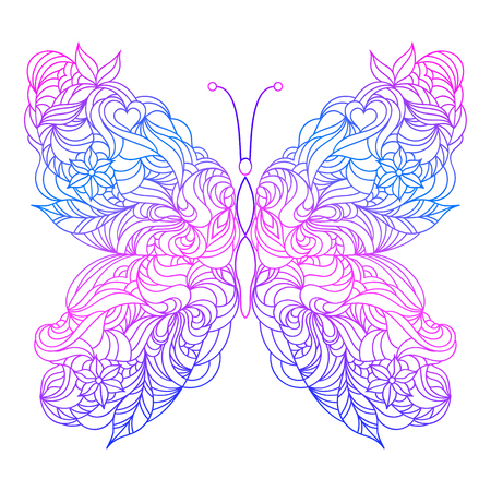 Floral hand drawn butterfly on white background.Vector illustration.