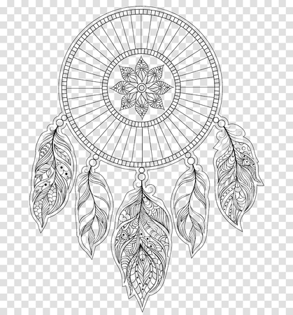 Vector illustration of dreamcatcher on transparent background.