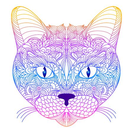Head of cat on white background.  Vector illustration. Ilustracja