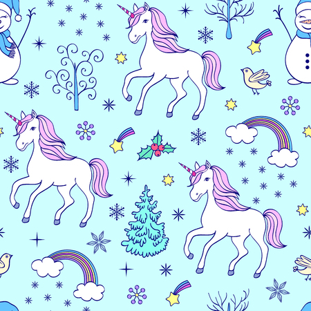 Christmas seamless pattern with unicorns and other elements on background.Vector illustration