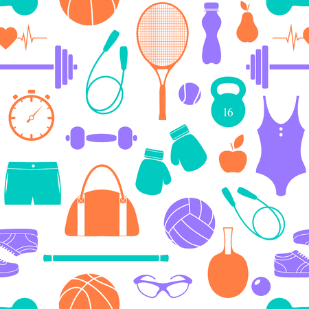 Seamless pattern with fitness equipment on white background.Vector illustration.