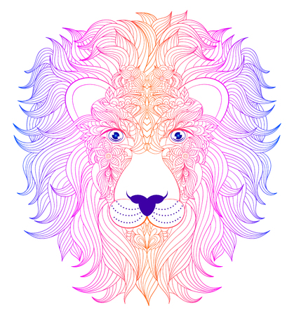 Hand drawn head of lion on white background.Vector illustration.
