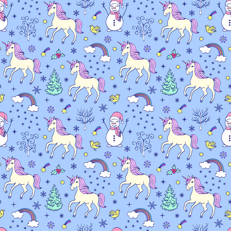Pattern with unicorns and other elements.