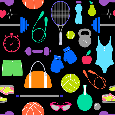 Borderless pattern of fitness equipment such as swimsuit, ball, gloves and many more in colorful illustration.