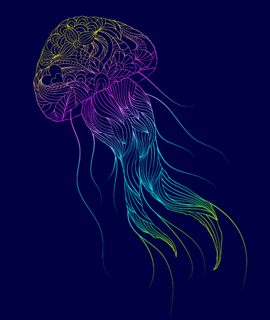 Hand drawn jellyfish in colorful sketched illustration.