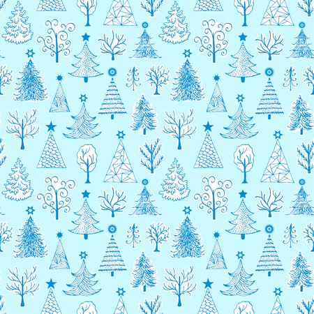 Borderless pattern of hand drawn Christmas tree in colored illustration.
