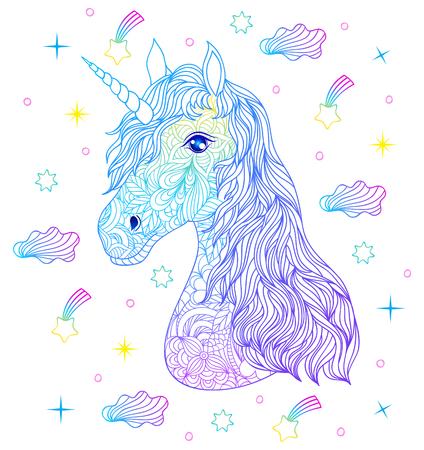 Head of hand drawn unicorn  in colorful illustration. Illustration