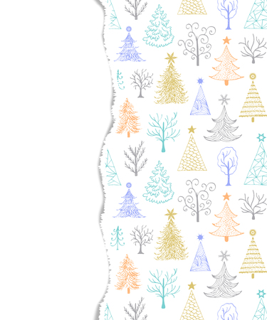 Torn paper with trees vector illustration.