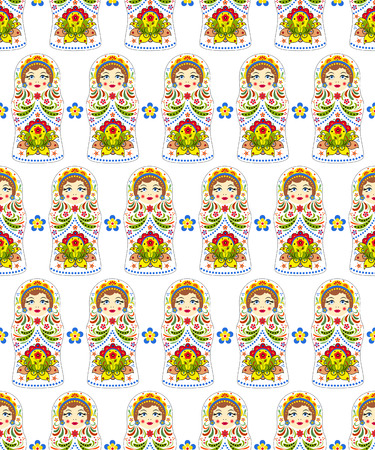 Russian dolls matryoshkas seamless pattern illustration. Illustration