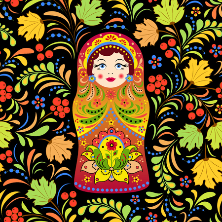 russian doll matryoshka and abstract flowers