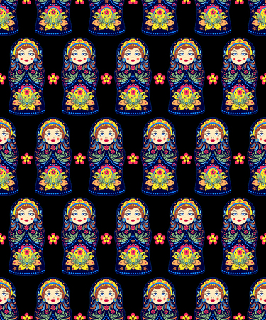pattern with russian dolls matryoshkas