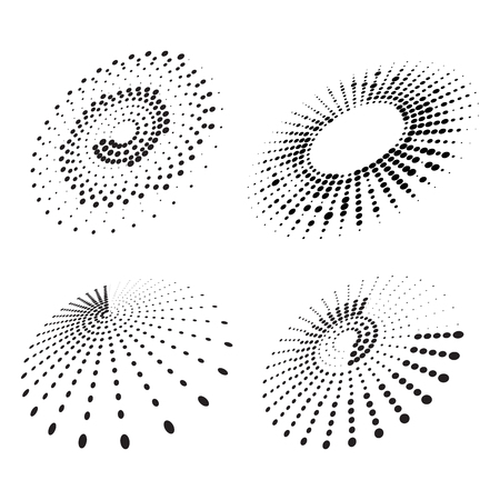 Set of abstract halftone elements
