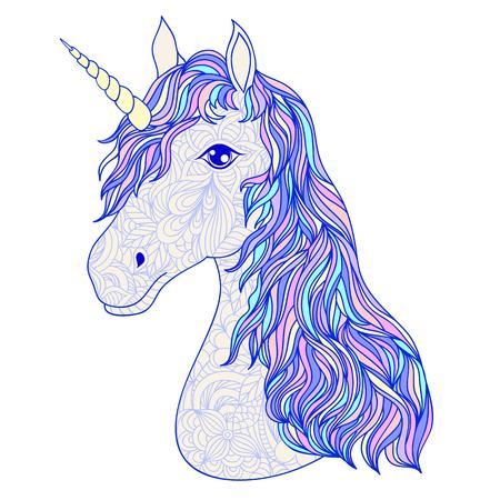 Head of hand drawn unicorn