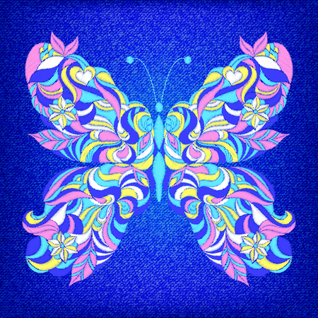 Embroidered colorful butterfly on dark blue jeans texture.Vector illustration. Illustration