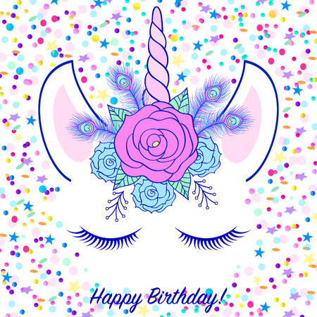 Head of hand drawn unicorn with floral wreath on white background with confetti. Vectores
