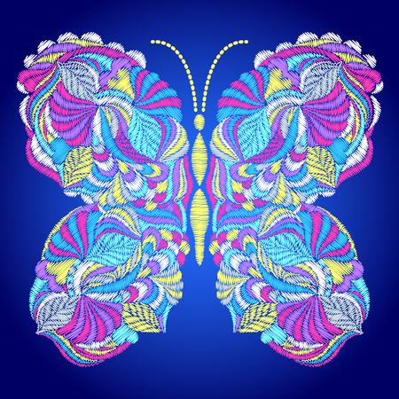 Geborduurd kleurrijk vlinderpatroon.