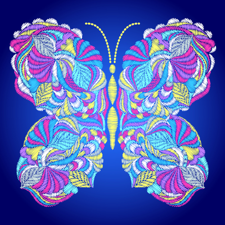 Embroidered colorful butterfly pattern.