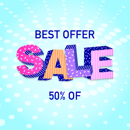 3D word Sale colorful Poster design Vector illustration