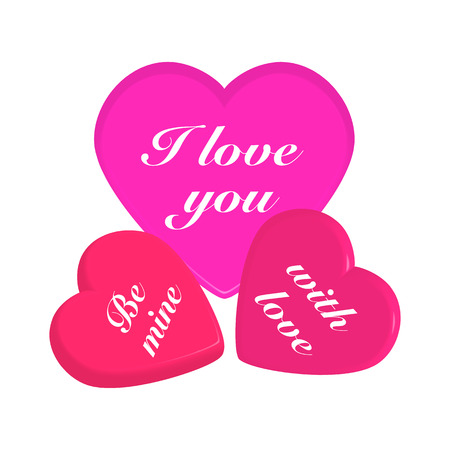 3d hearts on white pattern for Valentines day card. Ilustrace