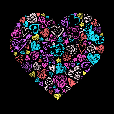 Colorful hand drawn heart with different hearts.