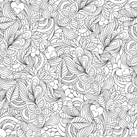 Illustration of pattern with abstract flowers,leaves and hearts.