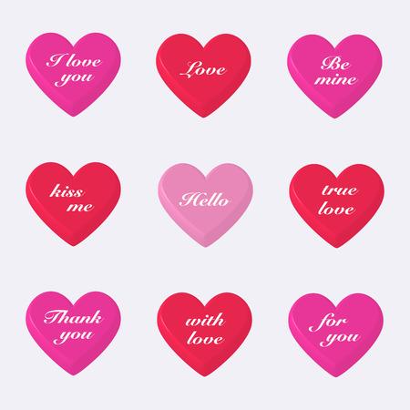 Set of 3d valentines hearts on gray pattern. Illustration