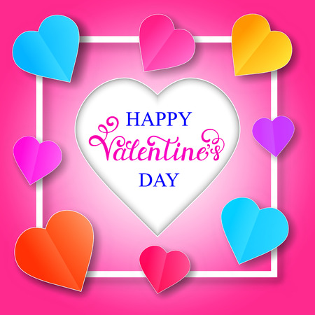 A Vector illustration of Valentines day card with paper hearts Illustration