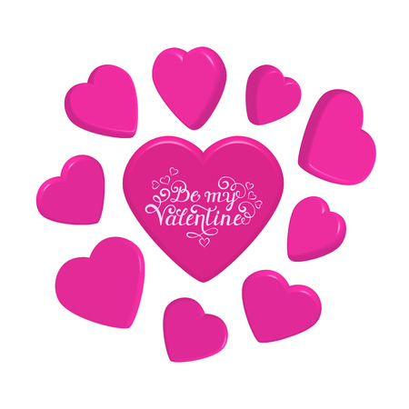 3d hearts on white background.Valentines day card.Vector illustration.