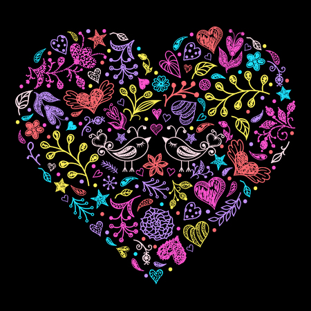 Colorful Valentines heart with birds,flowers and other elements.Vector illustration.