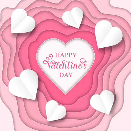 Vector illustration of Valentines day card with paper hearts Illustration