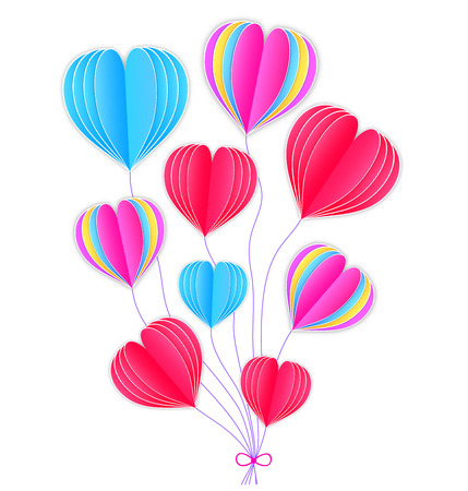 Colorful paper hearts on white background.Vector illustration Illustration